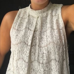 Off White and Beige Lace Top